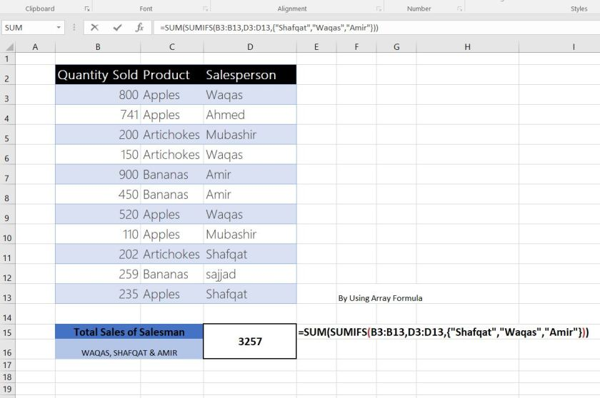Excel sumifs formula by Infopalaces 3